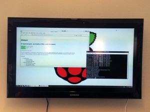 Raspberry Pi on wall screen